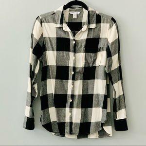 Black and White Plaid Flannel Button Down Shirt